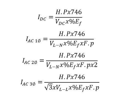 formulas de HP a Amperios