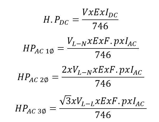 Formulas para pasar de Amperios a HP