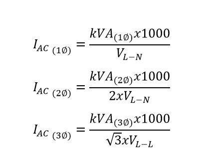formula para convertir de kva a amp