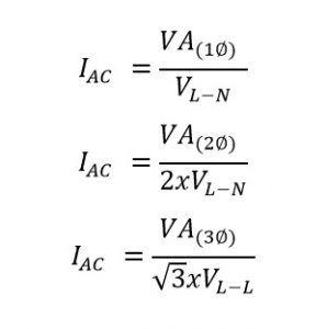 formula para convertir de va a amp