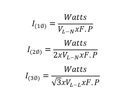 formula from convert of watts to amp