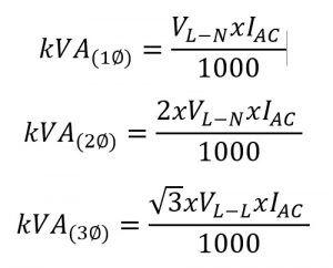formula volts to kva