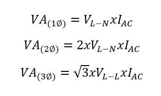 voltios a va formula