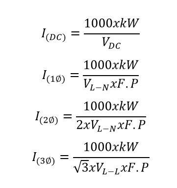 formula de voltios a amperios