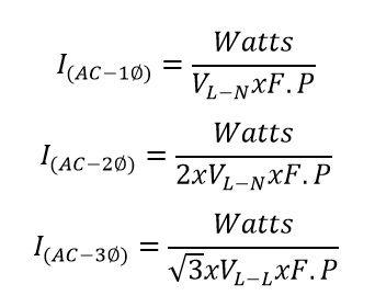 Formula de watts a Amperios AC